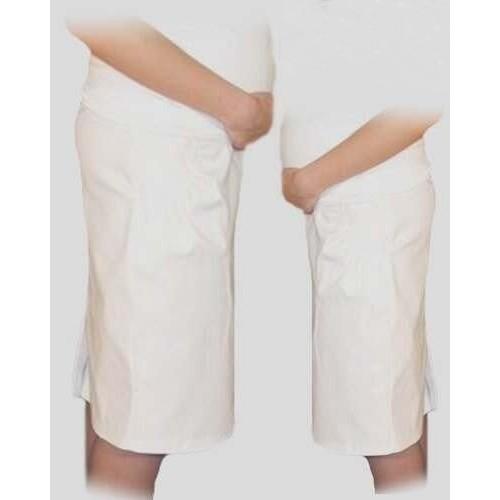 Be MaaMaa Tehotenská športová sukňa s vreckami - biela, vel´. L - L (40)