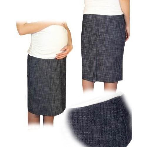 Be MaaMaa Tehotenská športová sukňa s vreckami melirovaný granát, vel´. XL - XL (42)