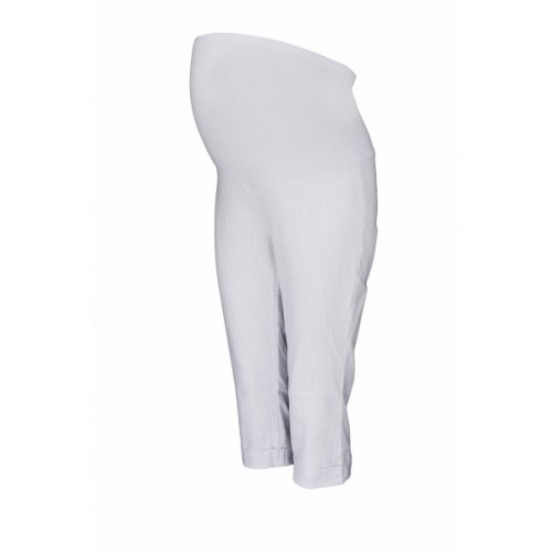 Be MaaMaa Tehotenské 3/4 nohavice s elastickým pásom - biele, vel´. XL - XL (42)