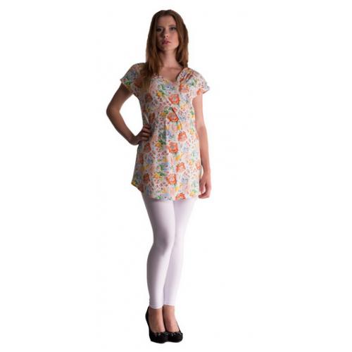 Be MaaMaa Tehotenská asymetrická tunika s farebnými kvetmi - lososová, vel´. L/XL - L/XL