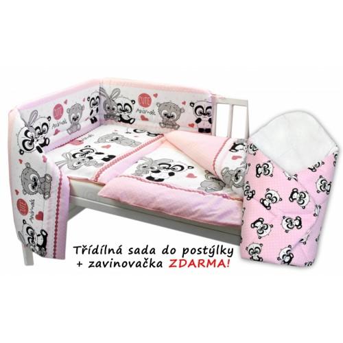 3-dielna sada mantinel s obliečkami + zavinovačka zadarmo, Cute Animals - ružová, D19 - 120x90