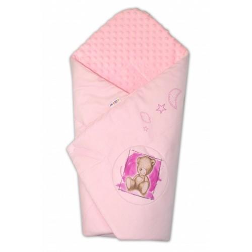 Baby Nellys Zavinovačka, 75x75cm, bavlnená s Minky by Teddy - sv. ružová, sv. růžová