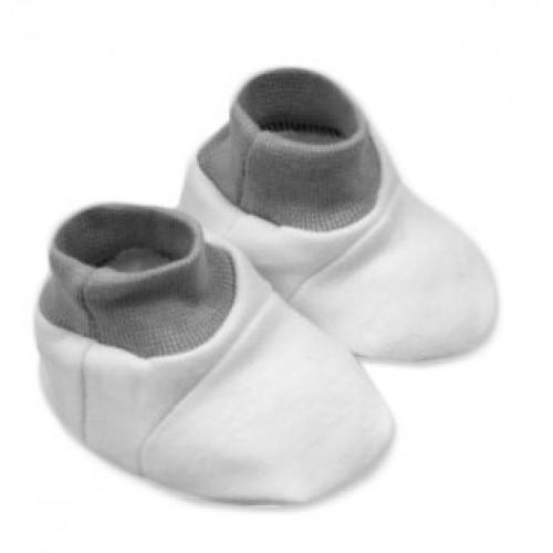 Baby Nellys Topánočky /ponožtičky, Little prince/princess Bavlna - biele s čer., šedým lem - 0/6 měsíců