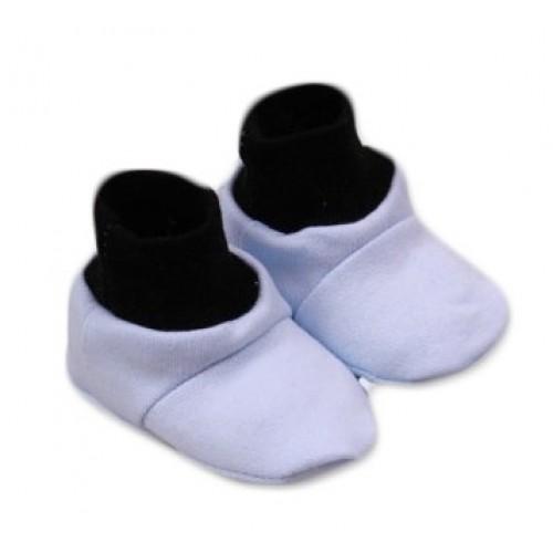Baby Nellys Topánočky /ponožtičky Little prince Bavlna - Modro/čierne - 0/6 měsíců