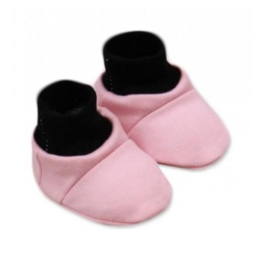 Baby Nellys Topánočky /ponožtičky Little princess Bavlna - Růžovo/čierne - 0/6 měsíců