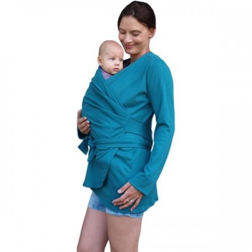 JOŽÁNEK Zavinovací kabátik pre nosiace, tehotné - biobavlněný - petrolejový, veľ. M/L - M/L