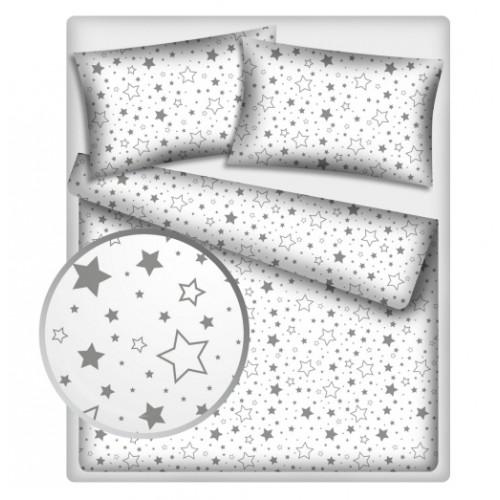 Baby Nellys Bavlnené obliečky 140 x 200 - Sivé hviezdy a hviezdičky - 140x200/70x90cm