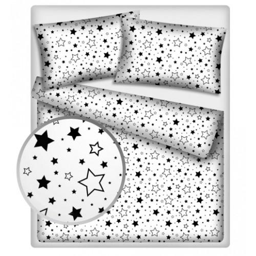 Baby Nellys Bavlnené obliečky 140 x 200 - Čierne hviezdy a hviezdičky - 140x200/70x80cm