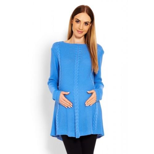Be MaaMaa Elegantný tehotenský svetrík / tunika - jeans - UNI
