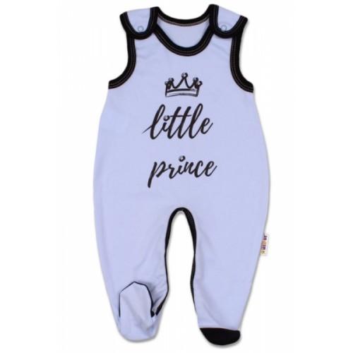 Baby Nellys Dojčenské bavlnené dupačky, Little Prince - modré - 56 (1-2m)