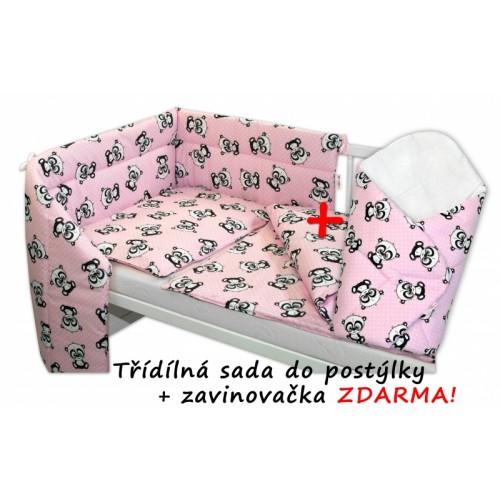 3-dielna sada mantinel s obliečkami + zavinovačka zadarmo - Baby Panda, ružová, D19 - 120x90