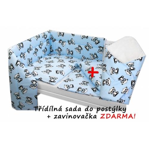 3-dielna sada mantinel s obliečkami + zavinovačka zadarmo - Baby Panda, modrá, D19 - 120x90