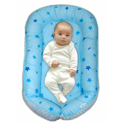 Baby Nellys Obojstranné hniezdočko pre bábätko Minky - Hvězdičky modré,sv.modré minky, K19