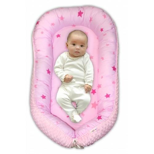 Baby Nellys Obojstranné hniezdočko Minky - Hvězdičky růžové, sv.růžová minky, K19