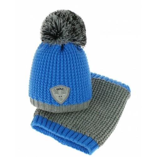 BABY NELLYS Jesenná/zimná čiapka s komínom - Bambulka - modrá/šedá