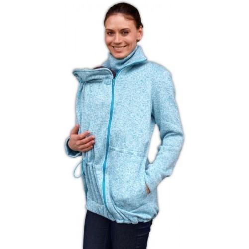 Nosiaci fleecová mikina - pre nosenie dieťaťa vpredu aj vzadu - tyrkys. melírek,vel. M/L - M/L