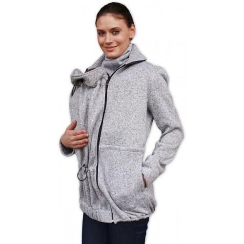 JOŽÁNEK Nosiaci fleecová mikina - pre nosenie dieťaťa vpredu aj vzadu - šedý melír - S/M