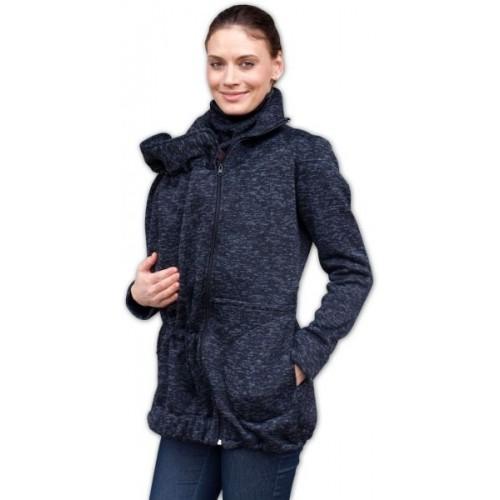 Nosiaci fleecová mikina - pre nosenie dieťaťa vpredu aj vzadu - černý melír, veľ. M/L - M/L