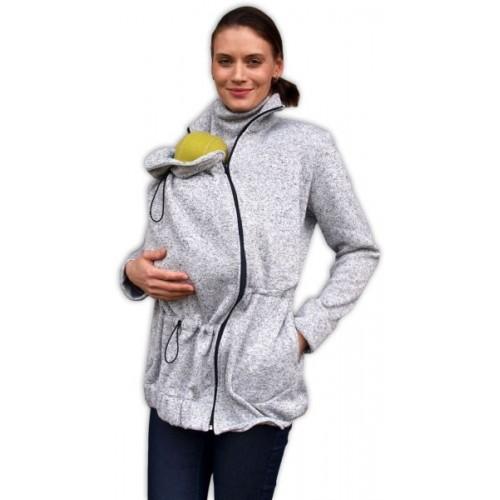 JOŽÁNEK Nosiaci fleecová mikina - pre nosenie dieťaťa vo predu - šedý melír, veľ. M/L - M/L