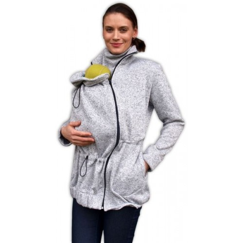 JOŽÁNEK Nosiaci fleecová mikina - pre nosenie dieťaťa vo predu - šedý melír, veľ. L/XL - L/XL