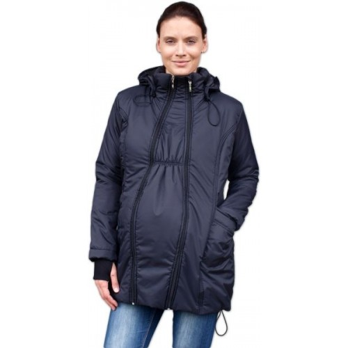 JOŽÁNEK Zimná bunda pre tehotné / nosiacie - vyteplená, čierna, veľ. L/XL - L/XL