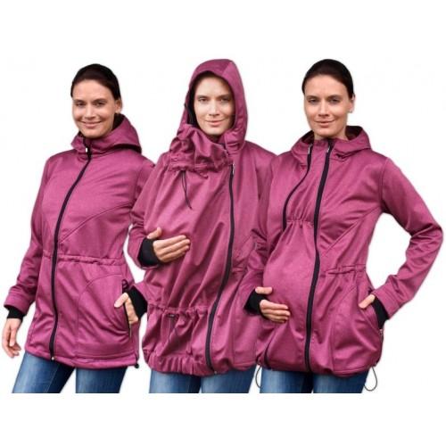 Bunda pre nosiace, tehotné - softshellová (predné nosenie) - vínový melír, veľ. L/XL - L/XL
