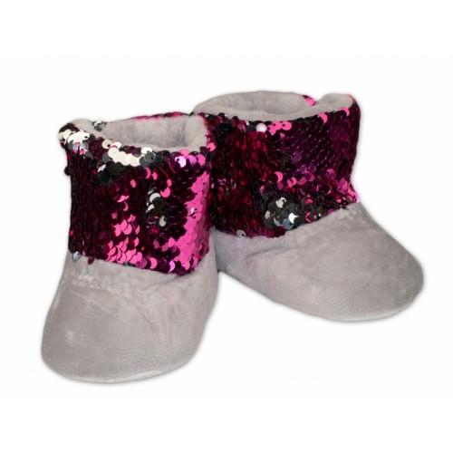 YO ! Zimné topánky/šľapky s flitryYO! - sivé, veľ. 80/86 - 80-86 (12-18m)