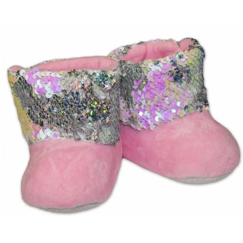 YO ! Zimné topánky/šľapky s flitryYO! - sv. ružové, veľ. 80/86 - 80-86 (12-18m)
