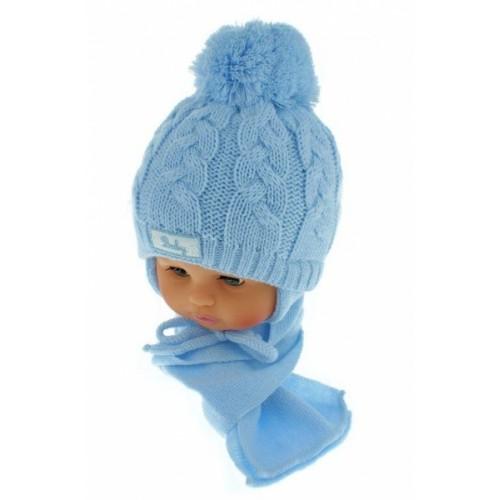 BABY NELLYS Zimná pletená čiapočka s šálom Baby Bear - modrá s brmbolcami - 34/36 čepičky obvod