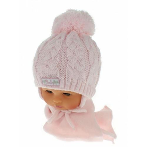 BABY NELLYS Zimná pletená čiapočka s šálom Baby Bear - ružová s brmbolcami - 34/36 čepičky obvod