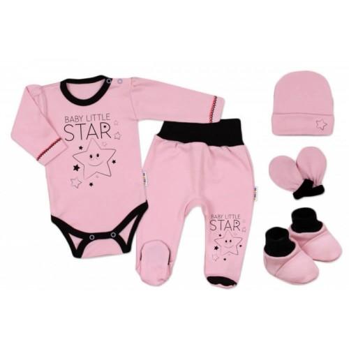 Baby Nellys Súpravička do pôrodnice Baby Little Star - ružová, K19 - 56 (1-2m)