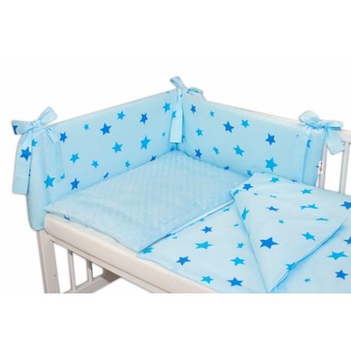 3- dielná sada mantinel s obliečkami Minky 135x100 hviezdičky modré - sv. modrá, K19 - 135x100