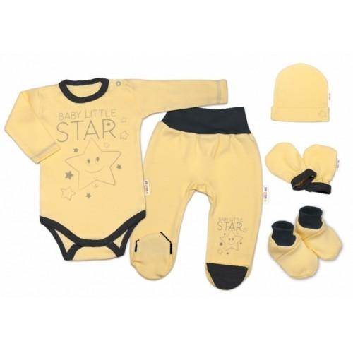 Baby Nellys Súpravička do pôrodnice Baby Little Star - žltá, K19 - 56 (1-2m)
