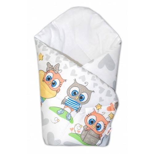 Baby Nellys  Novorodenecká zavinovačka Cute Owls - sivá