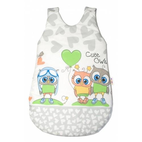 Baby Nellys Spacie vak Cute Owls - sivý