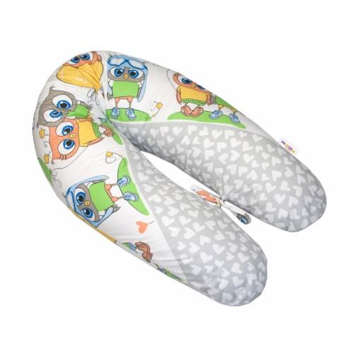 Baby Nellys Dojčiace vankúš - relaxačná poduška Multi Cute Owls - sivý
