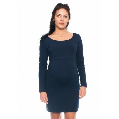 Be MaaMaa Elegantné tehotenské a dojčiace šaty Aszka - granat, veľ. L - L (40)