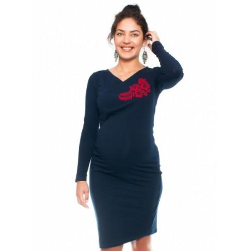 Be MaaMaa Bavlněné tehotenské a dojčiace šaty s potiskom Kvetin, granát, veľ. M - M (38)