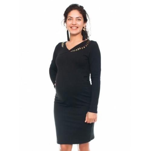 Be MaaMaa Elegantné tehotenské a dojčiace šaty s výšivkou - čierna, veľ. M - M (38)
