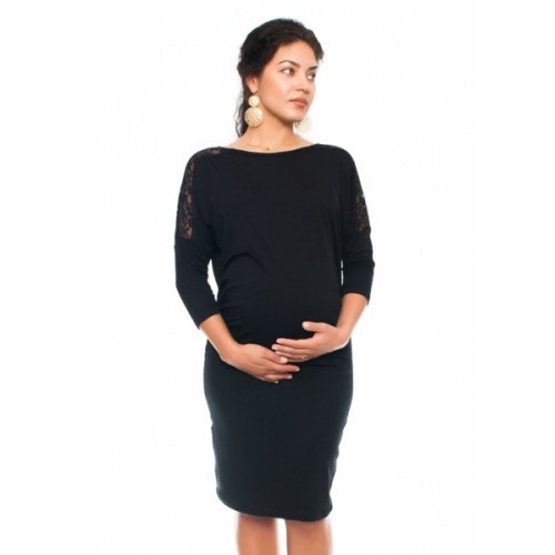 Be MaaMaa Elegantné tehotenské šaty s čipkou - čierne - XS (32-34)
