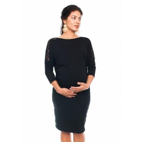 Be MaaMaa Elegantné tehotenské šaty s čipkou - čierne, veľ. XL - XL (42)