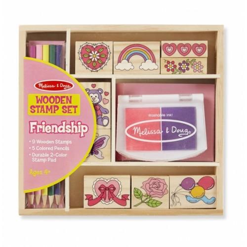 Melissa&Doug Drevené pečiatky v krabici - Priateľstvo