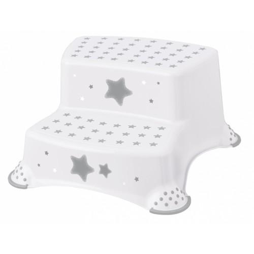 Baby Nellys Stolička - schodíky s protišmykom Baby Star - biele, K19