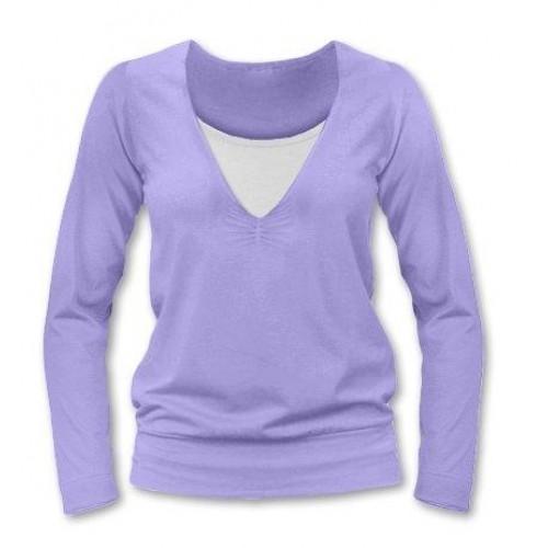 JOŽÁNEK Dojčiace, tehotenské tričko Julie dl. rukáv - orgovánová, L/XL - L/XL
