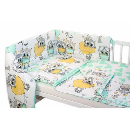 Baby Nellys 3- dielná sada mantinel s obliečkami 135x100 cm,  Cute Owls - zelená - 135x100