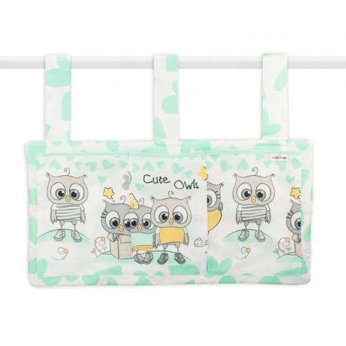 Baby Nellys  Vreckár na postieľku Cute Owls - zelený