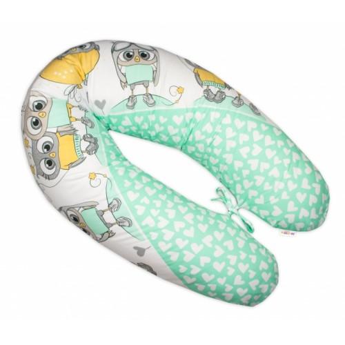 Baby Nellys Dojčiace vankúš - relaxačná poduška Multi Cute Owls - zelený
