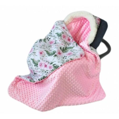 Baby Nellys Bavlnená obojstranná dečka 3v1 s minky a kožušinkou, 90x90 cm, kvetinky pink