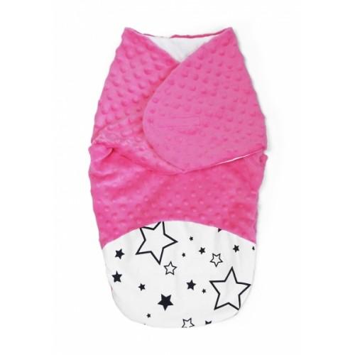 Baby Nellys Zavinovačka, spacáček s Minky, 0-6m - Hviezdy a hviezdičky, Minky ružová - 0/6 měsíců
