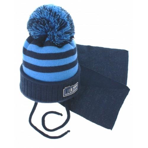 BABY NELLYS Zimná pletená čiapočka s šálom No.1 Team - prúžky granát / modrá - 34/36 čepičky obvod